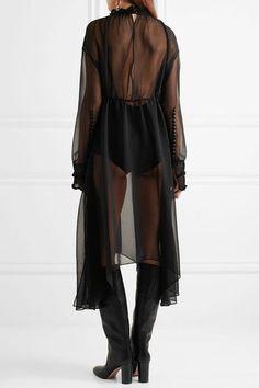 Magda Butrym - Aviles Asymmetric Crochet-trimmed Silk-chiffon Dress - Black - FR36