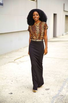 Leopard Shirt w/ Sleek, Black Maxi.  You can find similar items like this at www.occasionallblackandwhite.com