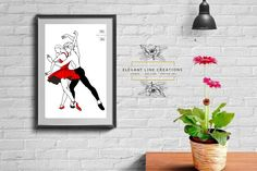 One Line Drawing of Dancing Couple Dancing Couple, Continuous Line Drawing, Handmade Items, Handmade Gifts, Own Home, Wall Prints, Couple Goals, Anniversary Gifts, My Design