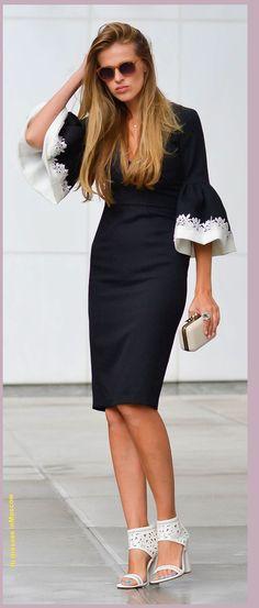 6e012d41ecd4bc clothing ideas fashion Black And White Body-con Ruffle Sleeve Cuff Midi  Dress  white heels