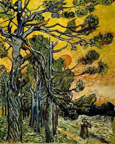 Vincent van Gogh (Dutch, Post-Impressionism, 1853-1890): Pine Trees against a…
