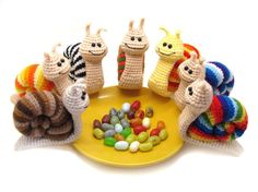 Bright Snail - crochet toy, amigurumi, stripped little snails, rainbow
