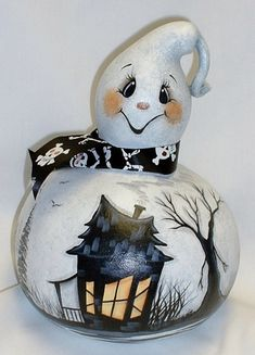 Ghost Gourd with Haunted House  Hand Painted by FromGramsHouse, $28.00