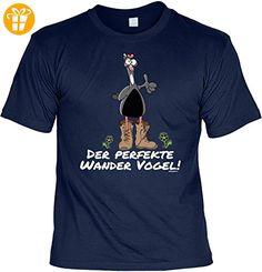 Fun T-Shirt - Wandern Hobby Motiv - Der perfekte Wander Vogel! - Unisex, Farbe: navyblau - Shirts mit spruch (*Partner-Link)