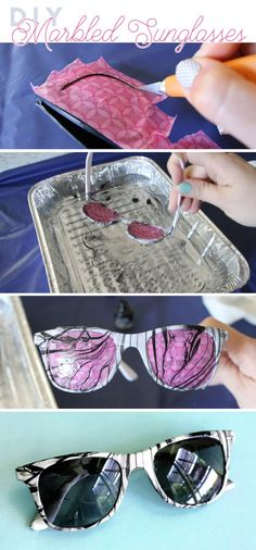 DIY Marbled Sunglasses - learn how to create your own custom marbled sunglasses Leather Tassel Keychain, Summer Diy, Summer Ideas, Diy Fashion Projects, Tape Crafts, Diy Crafts, My Kind Of Love, Complimentary Colors, Create And Craft