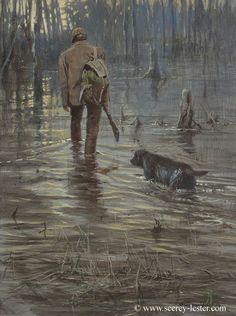 Heading out Not Just Wildlife Art of John & Suzie Seerey-Lester Duck Hunting Boat, Hunting Art, Hunting Dogs, Hunting Pictures, Waterfowl Hunting, Art Of Manliness, Mountain Man, Sports Art, Outdoor Art
