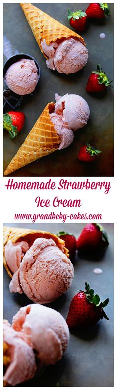 Homemade Strawberry Ice Cream - so luscious, sweet and creamy! ~ http://www.grandbaby-cakes.com