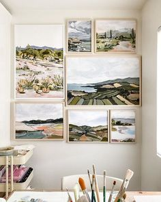 😍 I'm missing this view but happy to have some new paintings in the works! This gallery wall is full of canvas prints of some of my… Landscape Art, Landscape Paintings, Landscapes, Painting Inspiration, Art Inspo, Guache, Gravure, Art Drawings, Drawing Faces