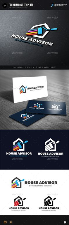 logo design for all creative business. Consulting, Excellent logo,simple and unique concept.  #house advisor #improve #Interior House Painting • Click here to download ! http://graphicriver.net/item/house-advisor/9279222?s_rank=134&ref=pxcr