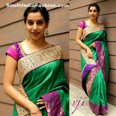 Green raw silk saree - one border banaras , one lace