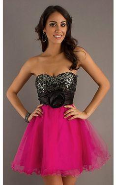 Short Strapless Dress with Tulle Skirt SS-X24065TKA