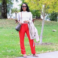 Keyma, @styleweekender, rockin' red pants and giving us some serious holiday vibes.💥❤️ Show us how you style this trendy color using #MyPinterest.