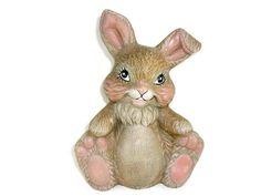 Vintage Brown and Pink Ceramic Rabbit Easter Bunny