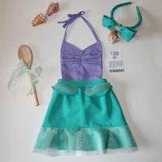 loja2 Princess Aprons, Disney Princess Costumes, Princess Outfits, Sewing Baby Clothes, Baby Sewing, Diy Clothes, Dress Up Aprons, Diy Dress, Sewing Aprons