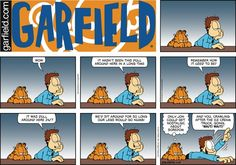 "Created by Jim Davis, Garfield is about the famous fat cat and his hilarious daily adventures with his ""pal"" Odie and others. Snoopy Comics, Garfield Comics, A Comics, Pokemon, Cartoon Jokes, Cartoons, Jim Davis, Fat Cats, Calvin And Hobbes"
