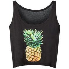 Black Pineapple Print Crop Top (7.61 CAD) ❤ liked on Polyvore featuring tops, crop top, shirts, sleeveless shirts, pineapple print shirt, no sleeve shirt, summer shirts and sleeveless crop top