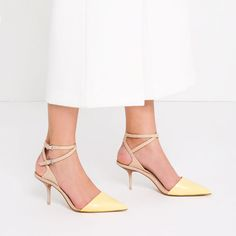 MEDIUM HEEL LEATHER SHOES WITH DOUBLE ANKLE STRAP from Zara