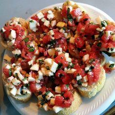 Bruschetta with Tomato, Basil, and Mozzarella