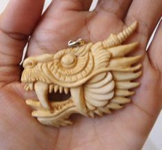 Pendant Necklace China DRAGON Head F/rBuffalo Bone Carving w/ Silver 925_u519 in Antiques, Asian Antiques, Southeast Asia | eBay