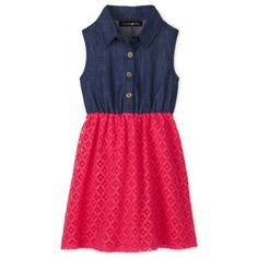 This pretty little dress is so versatile with its winning combination of dark chambray and crochet. She'll love it for school, church or circle time at the library.