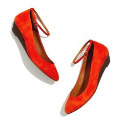 "Madewell suede ankle strap mini wedge Gorgeous suede 1"" mini wedge in an orange red color. Delicate ankle straps are removable for a different look.  Excellent condition. Madewell Shoes"