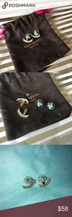 Kate Spade earrings Add gorgeous glitz to your style with the Kate Spade New York Sparklers Ear Jacket. ; Shiny 12K gold-plated metal. ; Sparkling glass stones. With beautiful turquoise stones Versatile ear jacket may be worn with the single earring, or with the jacket piece for alluring impact. 💕 kate spade Jewelry Earrings