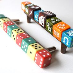 dice / game piece drawer pulls. cute idea for chest of drawers, cabinets