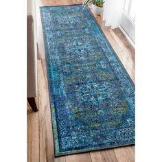nuLOOM Traditional Vintage Inspired Overdyed Fancy Blue Runner Rug (2'6 x 8')