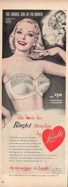 bra ads | Lovable Womens Satin Bra Paul Radar Art Ad T (1952)  check out the price of $1.50. you can't buy a piece of a bra for a buck fifty now lol