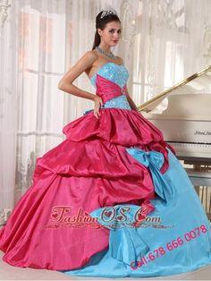 Brand New Aqua Blue and Hot Pink Quinceanera Dress Sweetheart Taffeta Appliques  Ball Gown