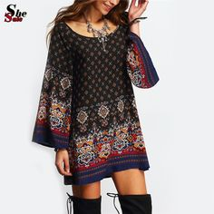 Dresses For Ladies Casual Spring Clothes Multicolor Round Neck Long Sleeve Vintage Print Shift Short Dress