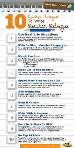 Blogger Tips: 10 Easy Ways To Write Better Blogs writing, writing ideas, creative writing ideas Blog Topics