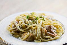 Chicken Pasta with Thyme-Mint Cream Sauce on SimplyRecipes.com