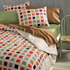 $240 Organic Cotton Shaker Quilt.  Beautiful blanket for the color loving eco-friendly princess's bedroom.