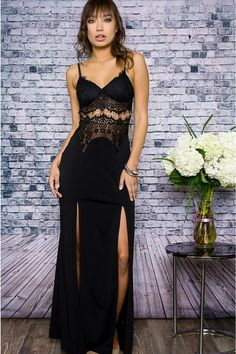 Take a black dress to the next level with this truly unique piece. The long black maxi dress features adjustable spaghetti straps, two leg slits, and darling lace details. This dress is truly effortless to wear, and makes you look dressed to the nines. And with free shipping year round you won't have to settle for anything less than perfect.