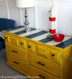 Bold blue and yellow dresser makeover: http://www.completely-coastal.com/2016/01/dresseer-makeover-coastal-beach-nautical.html