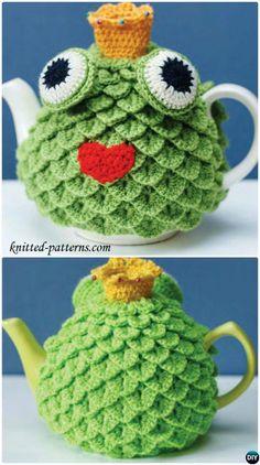 #Crochet Frog Tea Cozy Free Pattern-20 Crochet Knit Tea Cozy Free Patterns  #Kitchen