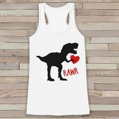 Womens Valentine Shirt - Funny Valentine's Day Tank Top - Dinosaur Valentine - Women's Humorous Tank - Happy Valentines Day - White Tank Top - 7 ate 9 Apparel