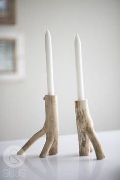 Bougeoirs en bois flotté
