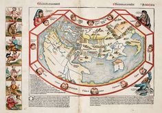 "Map of the world according to Hartmann Schedel, in 'Liber chronicarum' (Nuremberg Chronicle), Nuremberg (1493) in ""Legendary Lands: Umberto Eco on the Greatest Maps of Imaginary Places and Why They Appeal to Us"" by Maria Popova"