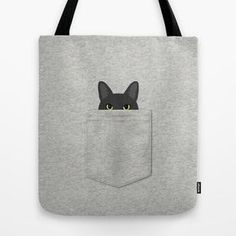 Pocket Black Cat Tote Bag by annewashere – Bags Beach Tote Bags, Canvas Tote Bags, Sewing Quotes, Sewing Jeans, Cat Bag, Fabric Bags, Cloth Bags, Handmade Bags, Shopping Bags