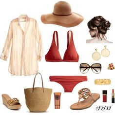 """""""Beach Day, J.Crew and Tory Burch..."""".... Ya one day I'll have enough money to say I'd wear that to the beach ...very cute"""