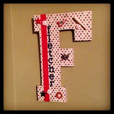 Baseball themed scrapbook paper covered letter for lil' Fletcher's bedroom.