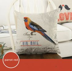 Find More Pillow Case Information about Red Parrot Fashion Linen Cushion Cover Home Decorative  Pillowcase Bedroom Pillowcover 45*45cm,High Quality sofa set design with price,China sofa lift Suppliers, Cheap sofa cushion foam from Winne on Aliexpress.com