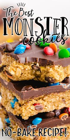 Monster cookies are the Frankenstein's monster of the cookie world - a mashup of peanut butter, oats, chocolate chips and M&Ms. This recipe is different from other monster cookie bites or balls because these cookies also have a yummy layer of chocolate on the top! Cookie Desserts, Fun Desserts, Cookie Recipes, Delicious Desserts, Snack Recipes, Dessert Recipes, Snacks, Potluck Recipes, Breakfast Dessert