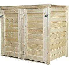 Cache-poubelle double en bois Lokka, NATERIAL, naturel, 1.14 m²   Leroy Merlin
