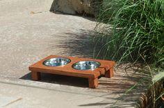 Raised Dog Bowl in Dark Oak (Ex Small)
