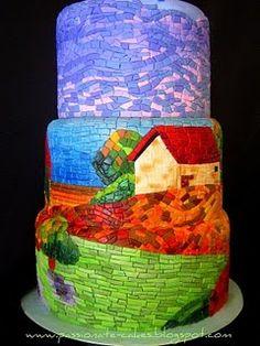 mosaic fondant wedding cake reproduction of Van Gogh's Tuscany II...