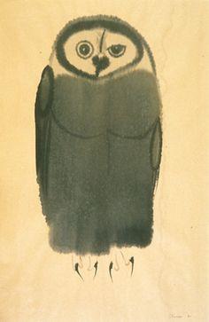 Morris Graves (US 1910 - Owl, ink on paper, Collection Jordan Schnitzer Museum of Art University of Oregon, Eugene, OR. Beautiful Artwork, Cool Artwork, Illustrations, Illustration Art, Owl Art, Modern Artists, Art Boards, Watercolors, Art Museum