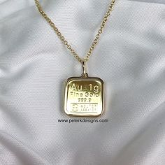 This unique product features 1 gram Argor-Heraeus gold bar made for a convenient way to own pure gold with one smaller purchase. It is mounted in uniquely designed elegant 14k gold frame preventing gold bar from scratches and 18-inch 14k gold chain with a spring ring clasp.  Argor-Heraeus a leading Gold refiner and manufacturer ensures the purity of this bar. The company Argor-Heraeus based in Mendrisio Switzerland was founded in 1951 and is one of the largest bullion producers in the world…
